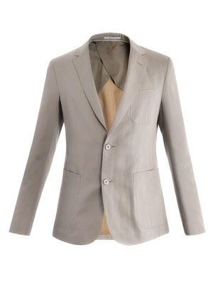 Single-breasted cotton-linen blazer