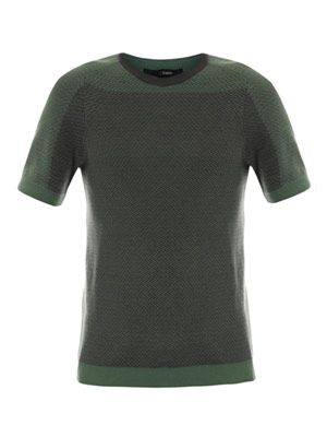 Micro-weave short-sleeve top