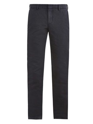 Linen-cotton chino trousers