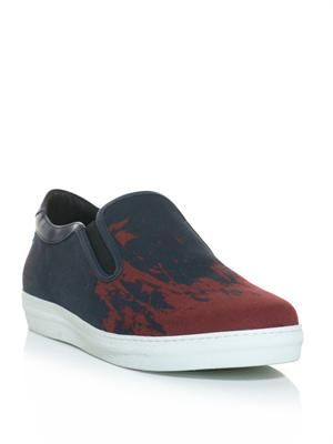Sunken battleship-print slip on trainers