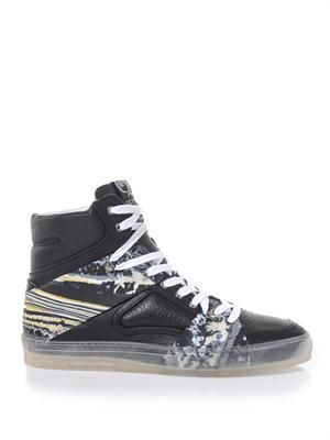 Marble-print rubber and leather trainers