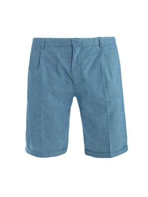 Pleated canvas chino shorts