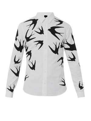 Swallow-print cotton shirt