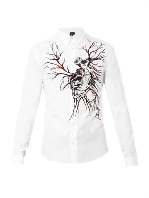 Motor heart-print cotton shirt