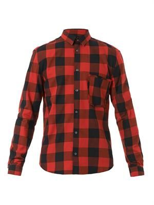 Raw-pocket checked shirt