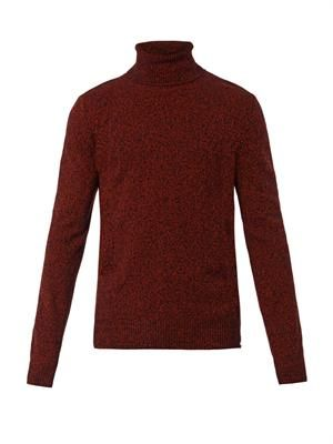 Side-zip roll-neck sweater