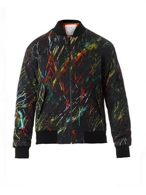 Scratch-print bomber jacket
