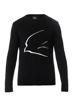 Swallow-intarsia wool sweater