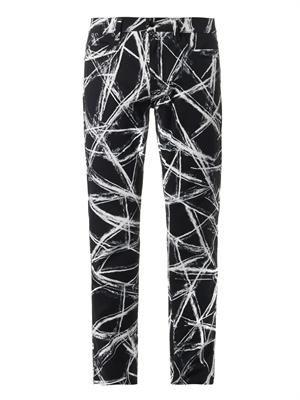 Scratch-print slim-leg jeans