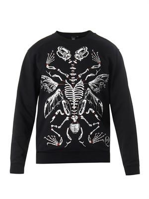 Bone-print cotton sweatshirt