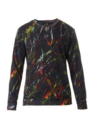 Scratch-print cotton sweatshirt