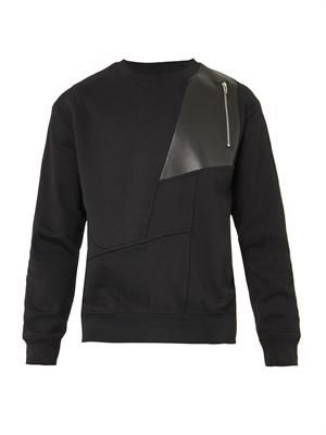 Leather-patch jersey sweatshirt