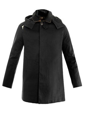 Dunoon contrast-collar hooded coat