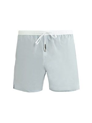 Oxford check mid-length swim shorts