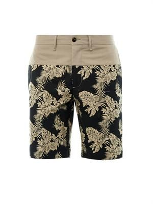 Jungle leaf-print cotton shorts