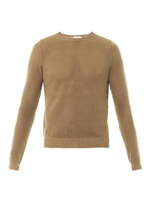 Mesh-knit cotton sweater