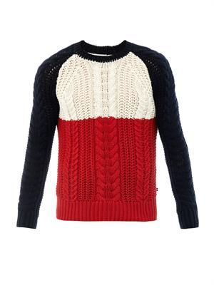 Colour-block cotton-knit sweater
