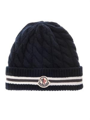 Cable-knit wool-blend beanie