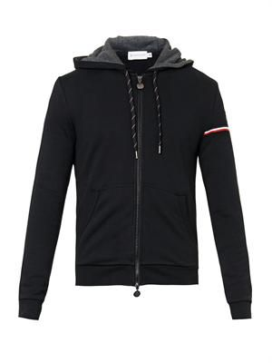Hooded black cotton-jersey sweatshirt