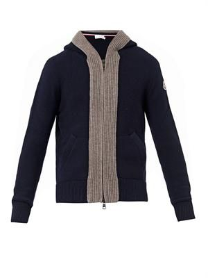 Bi-colour hooded wool-knit cardigan