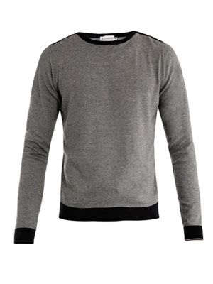 Fine-stripe crew-neck sweater