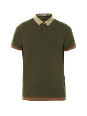 Crew-neck cotton polo shirt