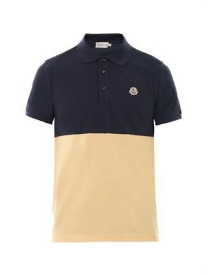 Colour-block cotton-piqué polo shirt