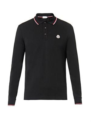 Logo-badge long-sleeved polo shirt