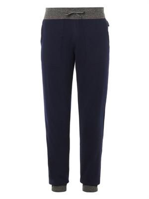Wool and cashmere-blend navy track pants