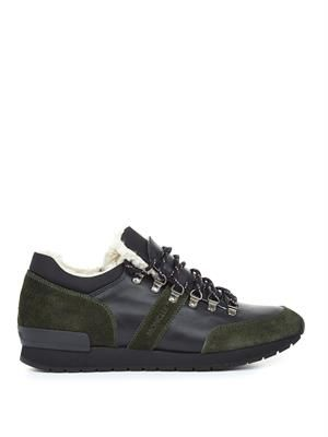 Megeve leather and suede trainers