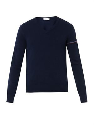 Navy V-neck wool sweater