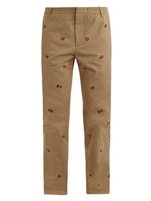 Inverted commas embroidered chino trousers