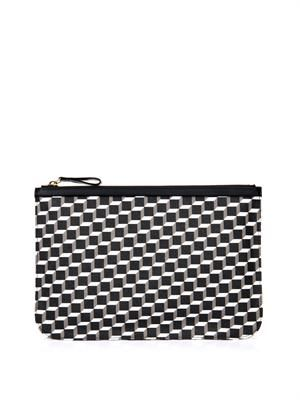 Cube-print coated-canvas pouch