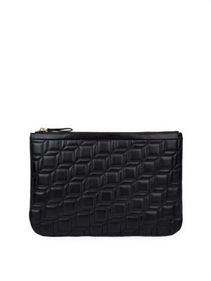Cube-quilted leather pouch