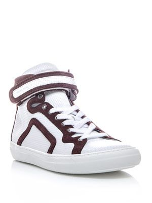 Perforated leather high-top trainers