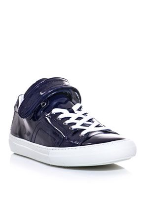 High-shine leather trainers