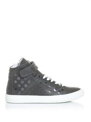 Laser-cut leather high top trainers