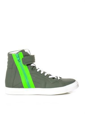 Neon-zip leather trainers