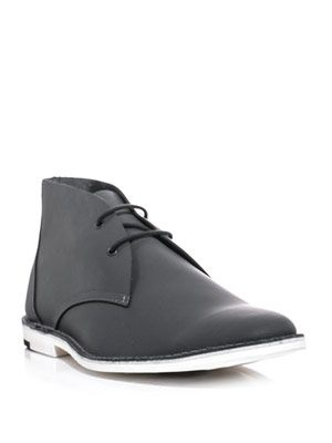 Rubberised leather desert boots