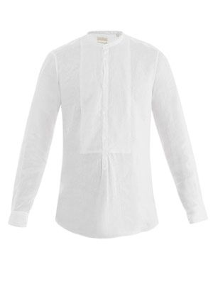 Kos collarless linen shirt