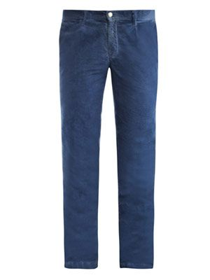 Ionio washed micro corduroy chino trousers