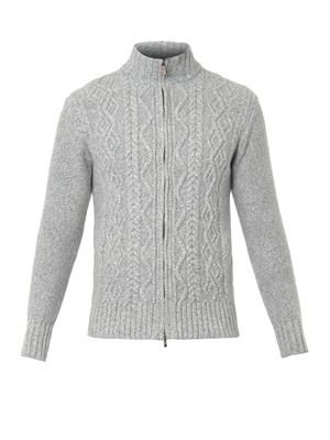 Wool and cashmere-blend zip cardigan