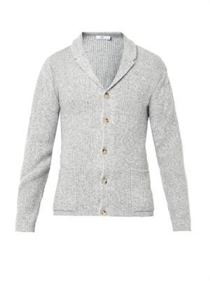 Wool and cotton-blend knit cardigan