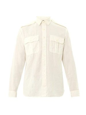 Military Burma cotton-linen shirt