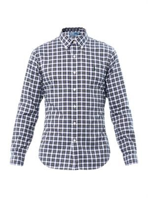 Slim-fit tartan-print cotton shirt