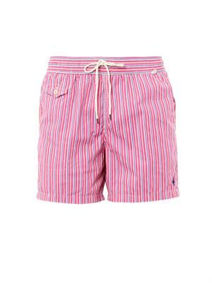Traveler butcher's-stripe swim shorts