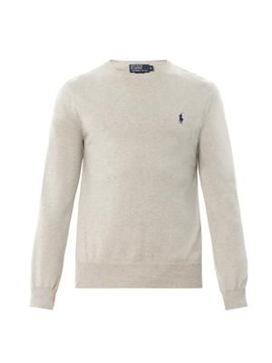 Slim-fit crew-neck cotton sweater