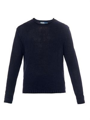 Crew-neck navy linen sweater