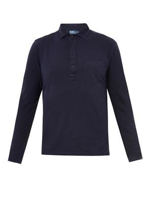 Linen and cotton-jersey polo shirt