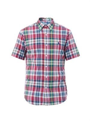 Slim-fit check-print cotton shirt